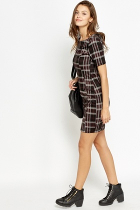 Wide Neck Tartan Dress