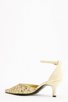 Embellished Satin Ankle Strap Kitted Heels