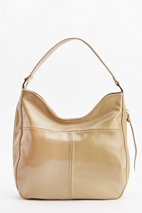 Faux Leather Brown Hobo Bag
