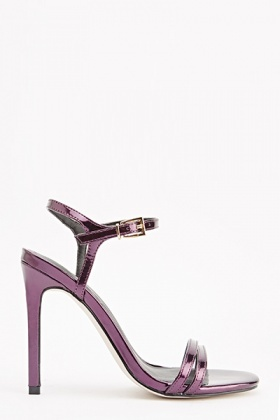 Plum Metallic Heeled Sandals