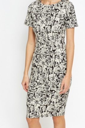 Bodycon Mono Floral Dress