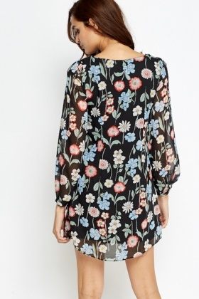 Multi Floral Chiffon Dress
