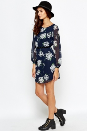 Navy Floral Long Sleeve Dress