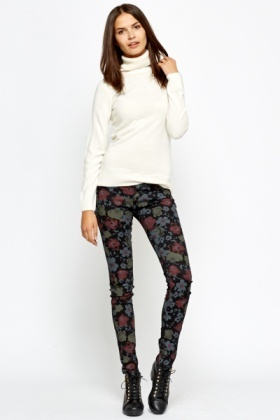 Black Floral Printed Leggings