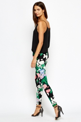 Bold Floral Printed Leggings