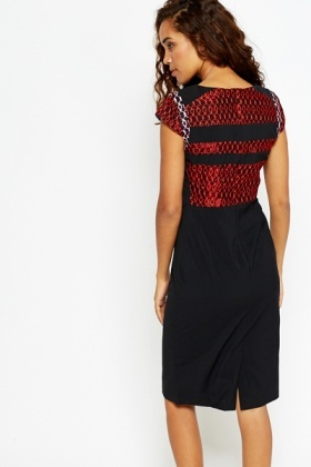 Contrast Embroidered Pencil Dress