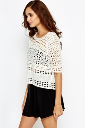Cream Mesh Lace Top
