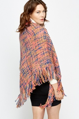 Fringed Woven Open Poncho