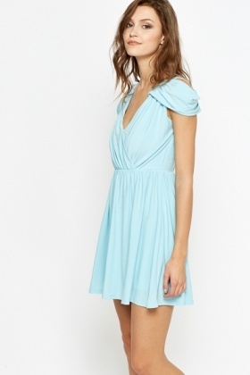 Petite Blue Cold Shoulder Dress