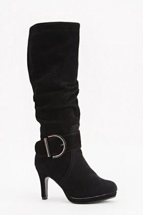 Encrusted Buckle Knee High Boots