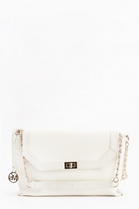 Faux Leather Contrast Gold Chain Bag