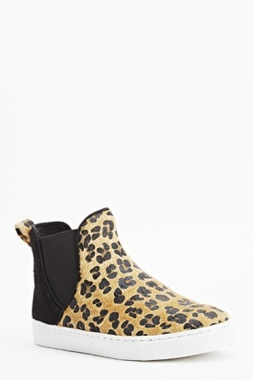 Leopard Faux Fur High Top Plimsolls