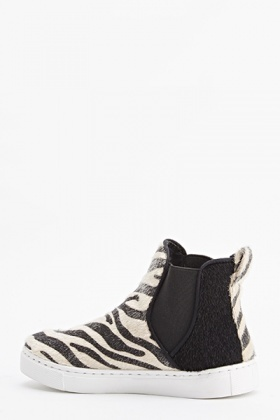 Zebra Faux Fur High Top Plimsolls