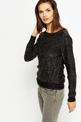 Black Metallic Round Neck Jumper