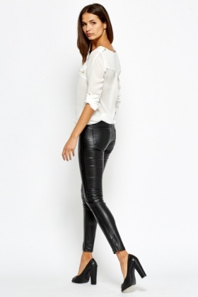 371ced4dc8b70 Contrast Side Faux Leather Trousers - Just £5