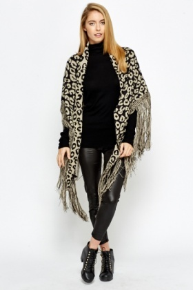 Fringed Leopard Open Poncho