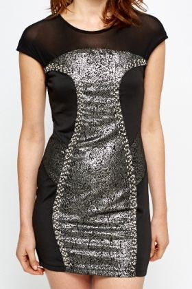 Metallic Panel Contrast Bodycon Dress