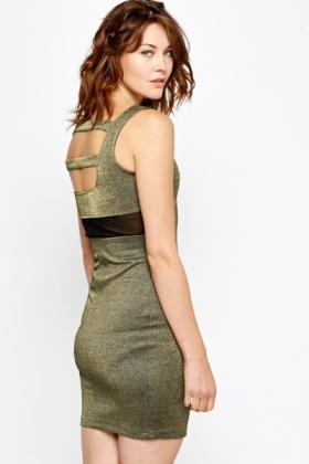 Plunge Neck Metallic Bodycon Dress