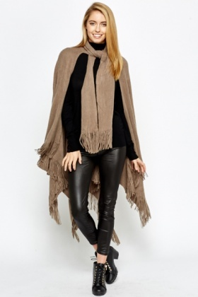 Tie Up Front Fringed Poncho