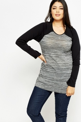 Contrast Front Long Sleeve Top