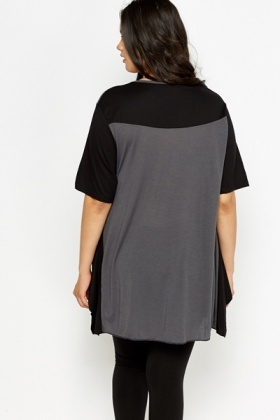 Dark Grey Colour Patch Top