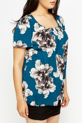 Teal A-Line Floral Blouse