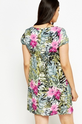 Tropical Print Shift Dress