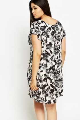 Wide Neck Floral A-Line Dress