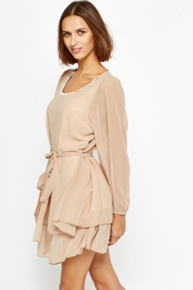 Diamanté Encrusted Neck Khaki Shift Dress
