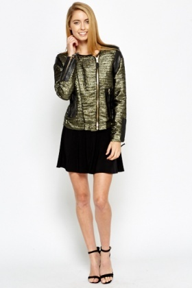 Faux Leather Insert Metallic Jacket