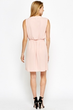 Light Pink V-Neck Skater Dress
