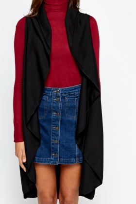 Long Sleeveless Black Cardigan