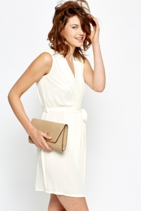 Sleeveless Cream Wrap Dress