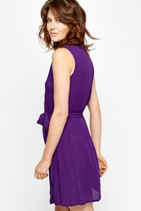 Sleeveless Purple Wrap Dress