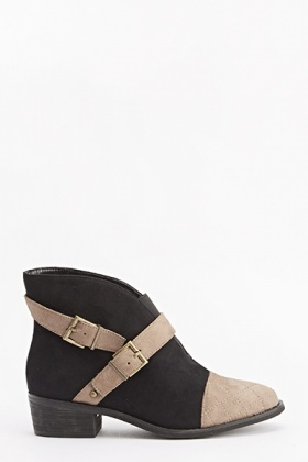 Belt Design Suedette Ankle Boots