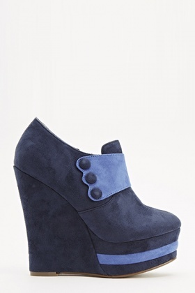 Blue Suedette Ankle Wedges