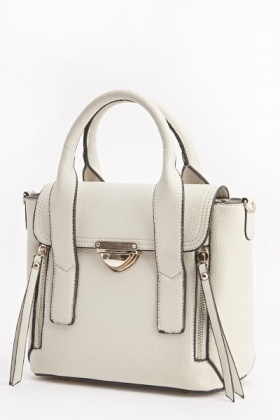 Gold Contrast Faux Leather Handbag