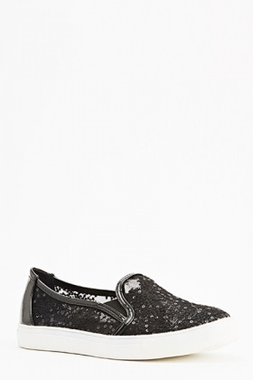 Mesh Contrast Slip On Shoes