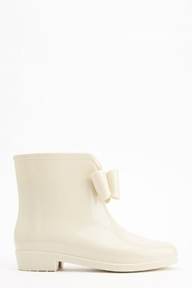 Off White Bow Ankle Wellies