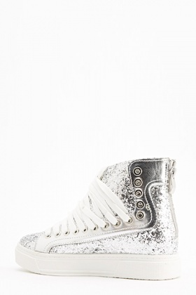 Silver Glitter High Top Trainers