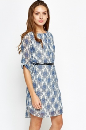Blue Ornate Belted Dress