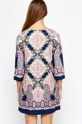 Blue Ornate Shift Dress