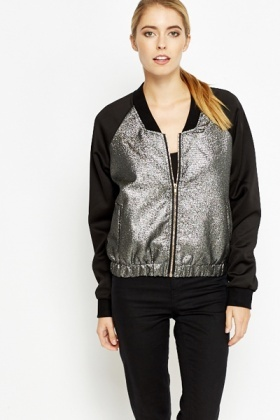 Metallic Panel Bomber Jacket