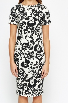 Mono Floral Bodycon Dress