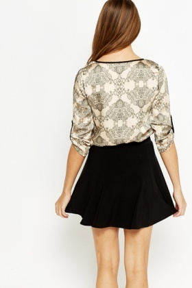 Roll Up Sleeves Ornate Blouse