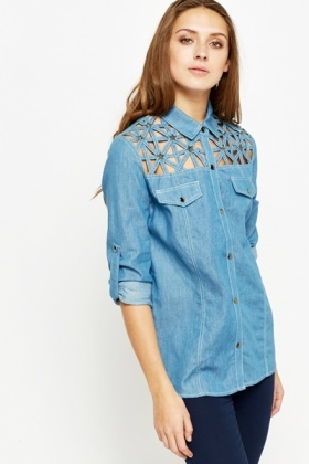Star Cut Out Roll Up Sleeve Shirt