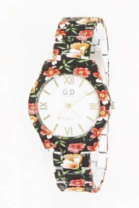 Black Multi Floral Bracelet Watch