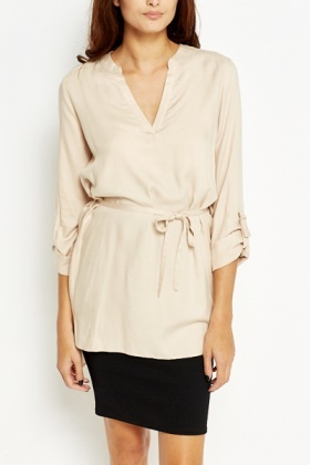 Long Line Beige Wrap Shirt