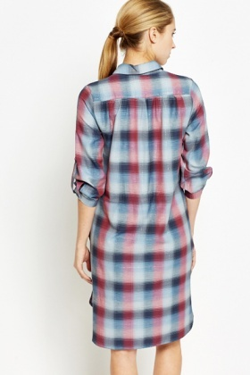 Multi Checked Slip Side Long Line Top