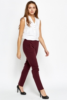 Plum Tapered Trousers